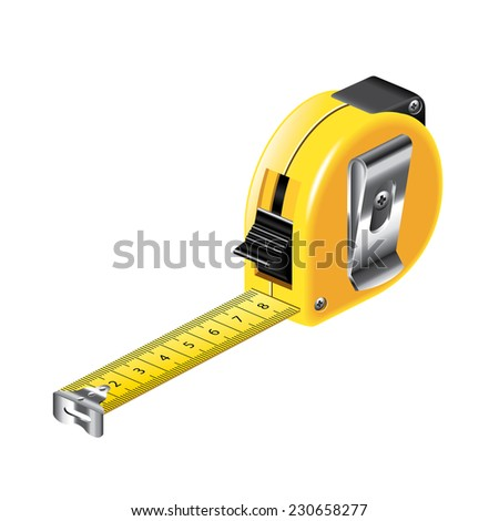 Tape measure isolated on white photo-realistic vector illustration - stock vector