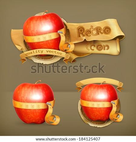 Tape measurement and apple, retro vector icon - stock vector