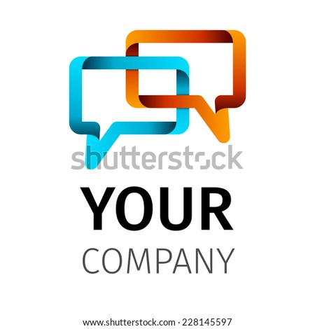tape shape talking bubble symbol vector icon logo - stock vector