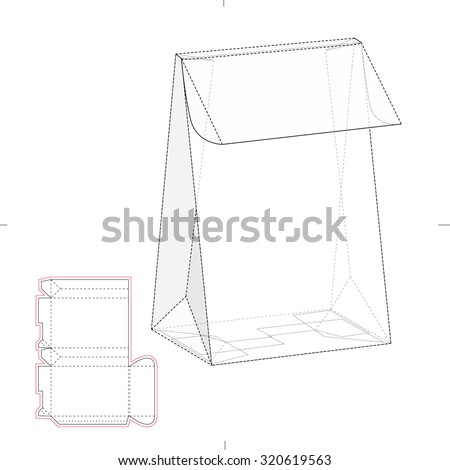 Tapered Box with Die line Template  - stock vector