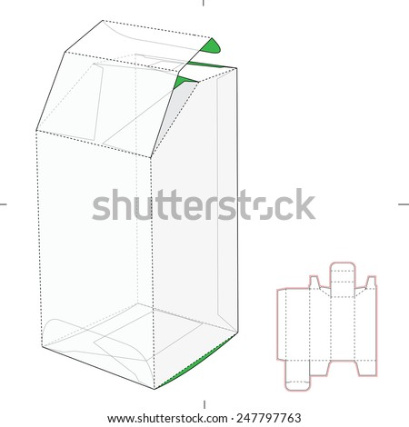Tapered Top Tube Box with Die Cut Template - stock vector