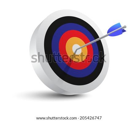 Target aim and arrow. Successful shoot. Vector Illustration - stock vector