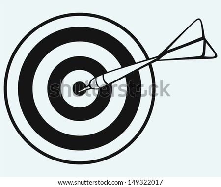 Target and arrows isolated on blue background - stock vector