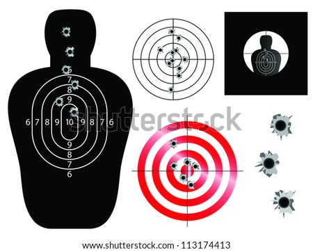 Target and sight vector illustrations with bullet holes - stock vector