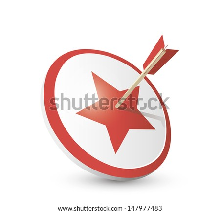 Target and star with arrow - stock vector