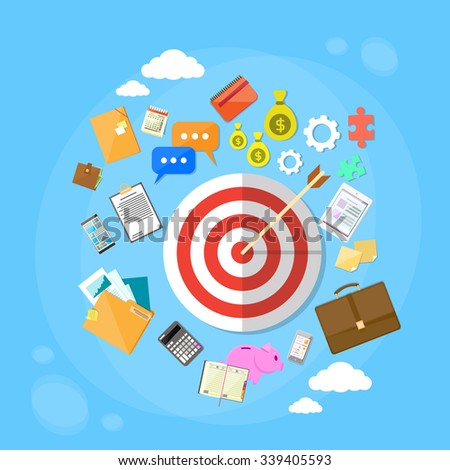 Target Arrow Get Aim Concept Web Marketing Application Flat Icon Set Vector Illustration - stock vector