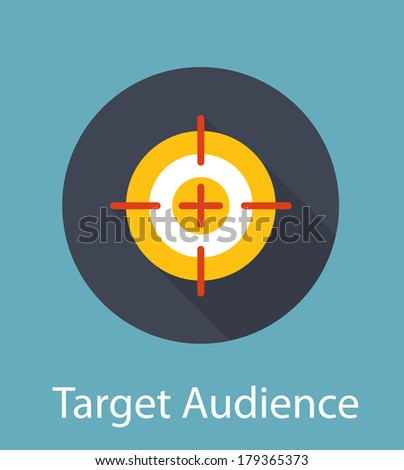 Target Audience Flat Concept Icon Vector Illustration - stock vector