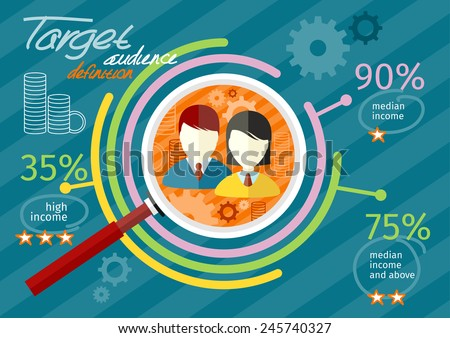 Target audience infographic with magnifying glass and man and woman icon inside chart. Income rating concept. Flat icon modern design style concept - stock vector