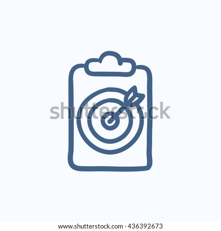 Target board and arrow vector sketch icon isolated on background. Hand drawn Target board and arrow icon. Target board and arrow sketch icon for infographic, website or app. - stock vector