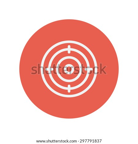 Target board thin line icon for web and mobile minimalistic flat design. Vector white icon inside the red circle. - stock vector
