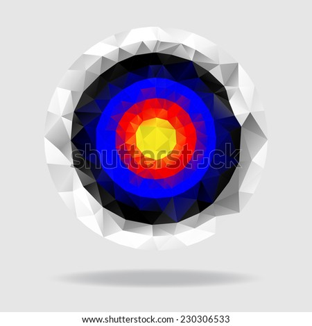 Target consisted of triangles, polygonal vector background - stock vector