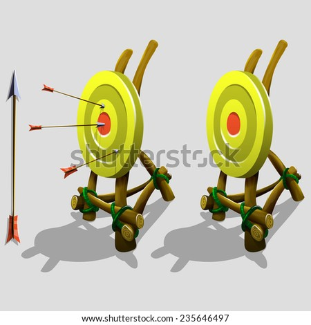 Target game decorations with arrows. Vector illustration. - stock vector