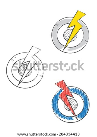 Target hitted by lightening icons - stock vector