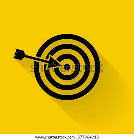 Target icon vector. Targeting, vector, arrow, objective, darts. Black icon isolated on yellow background with shadow. - stock vector
