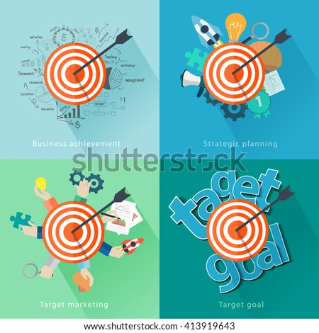 Target ideas concept with flat design background, Analysis and planning, consulting, team work, project management, brainstorming, research and development, Vector illustration modern layout template - stock vector