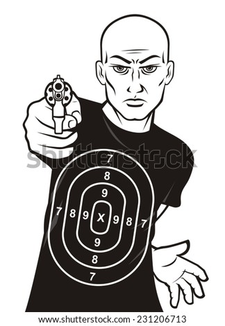 Target man shooting range - stock vector