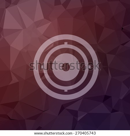 Target pad icon in flat style for web and mobile, modern minimalistic flat design. Vector white icon on abstract polygonal background - stock vector