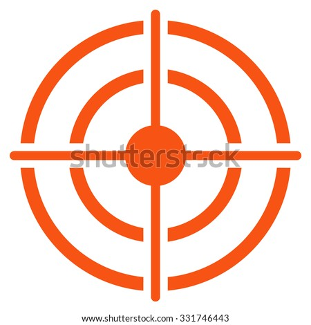 Target vector icon. Style is flat symbol, orange color, rounded angles, white background. - stock vector
