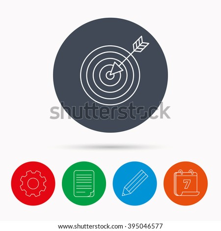 Target with arrow icon. Dart aim sign. Calendar, cogwheel, document file and pencil icons. - stock vector