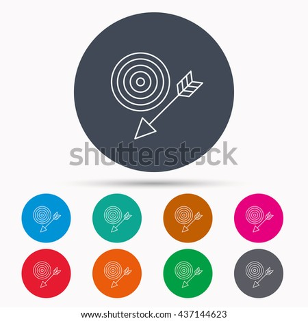 Target with arrow icon. Dart aim sign. Icons in colour circle buttons. Vector - stock vector