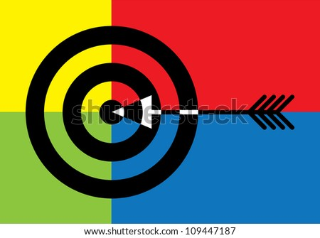 Target with arrow in the middle - illustration - stock vector