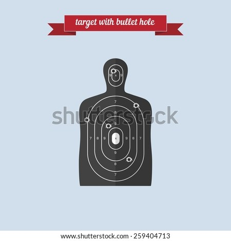 Target with bullet hole. Flat style design - vector - stock vector