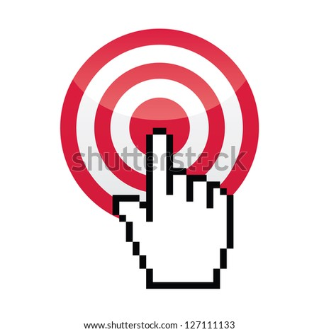 Target with cursor hand vecotr icon - stock vector