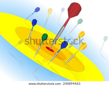 Target with darts. Vector illustration  - stock vector