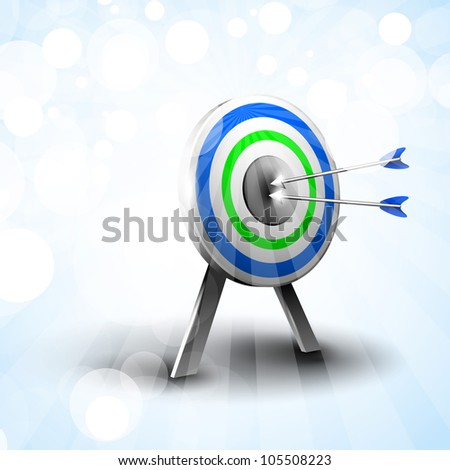 Targets with hitting darts on abstract blue background. EPS 10. - stock vector