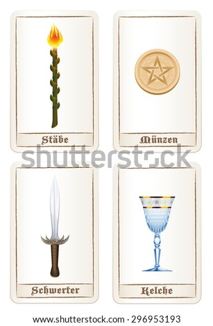 Tarot card colors or elements - suit of wands, suit of pentacles, suit of swords and suit of cups. Isolated vector illustration on white background. GERMAN LABELING! - stock vector