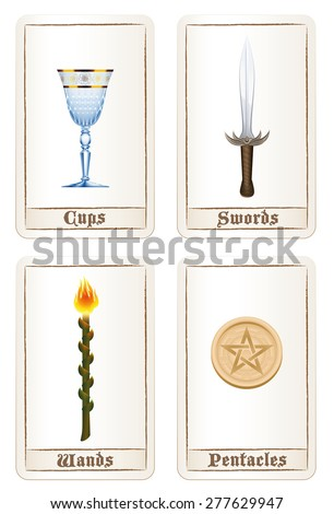 Tarot card colors - suit of cups, suit of swords, suit of wands and suit of pentacles. Isolated vector illustration on white background. - stock vector