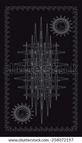 Tarot cards - back design. Black Moon and White Moon - stock vector