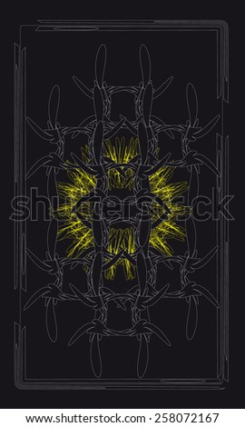 Tarot cards - back design. Bronze grille - symbol of love and wisdom - stock vector
