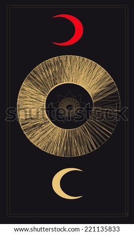 Tarot cards - back design, two moons - stock vector