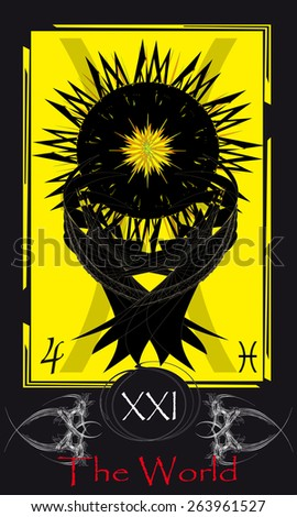 Tarot cards. Major Arcana. The World - stock vector