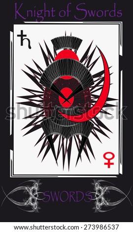 Tarot cards. Minor Arcana. Knight of Swords - stock vector