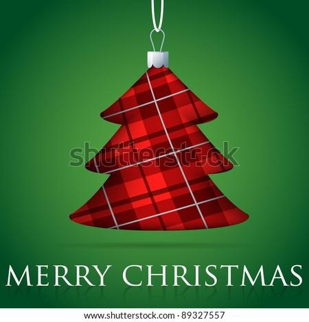 Tartan Christmas tree bauble card in vector format. - stock vector