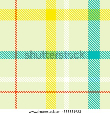 Tartan pattern. Scottish traditional fabric seamless vector. Colorful red, blue, yellow and white. Suitable for children, decoration, home, design, concept, clothing, handicraft & scrap booking. - stock vector