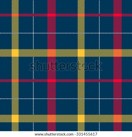 Tartan pattern. Scottish traditional fabric seamless vector. Colorful red, yellow and blue. Suitable for children, decoration paper, home, design, concept, clothing, handicraft & scrap booking. - stock vector