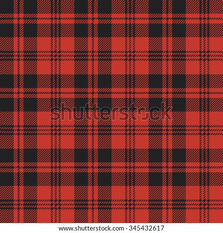 Tartan (plaid) seamless pattern. Red and black color. - stock vector