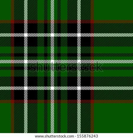 Tartan traditional checkered british fabric seamless pattern, green and black, vector - stock vector