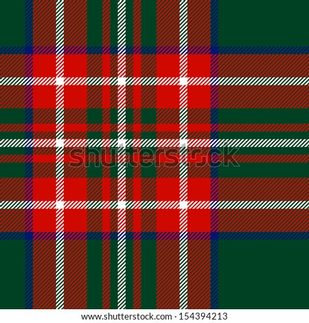 Tartan traditional checkered british fabric seamless pattern, green and red, vector - stock vector