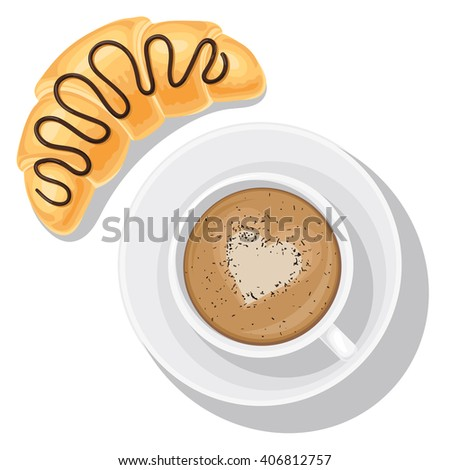 Tasty Breakfast food, coffee mug top view. Cappuccino and croissant with chocolate top. Vector illustration isolated on white background for your web design or print brochures - stock vector