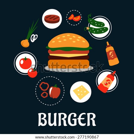 Tasty burger concept with ingredients including tomato, pepper, onion, beef patty, cucumber, mustard, ketchup and cheese - stock vector