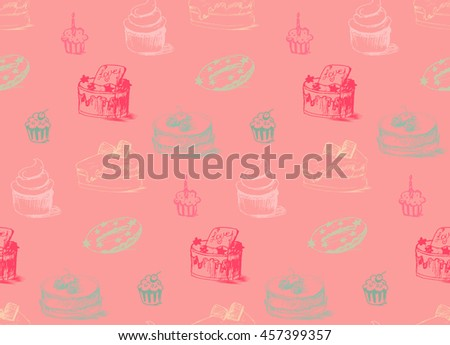 Tasty Cakes Seamless Pattern. Cream Food Background. Bakery sticker and wrap, print and fabric. Candy, sweet wallpaper. Vector - stock vector