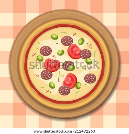 Tasty, flavorful pizza isolated on round cutting board on table with checkered tablecloth - stock vector