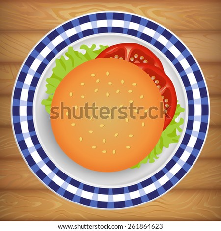 Tasty fresh burger with tomato and salad on bright plate. Vector image can be used for restaurant and cafe menu design, food posters, print cards and other crafts. - stock vector
