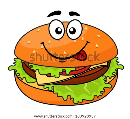 Tasty meaty cheeseburger on a sesame bun with lettuce licking its lips in anticipation of a delicious snack, cartoon illustration - stock vector