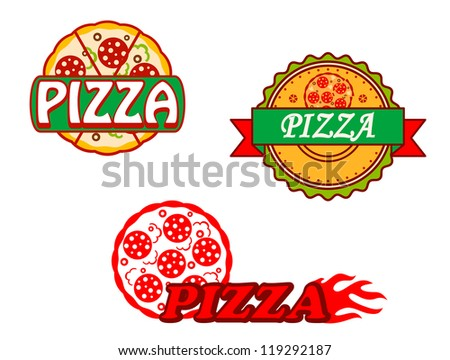 Tasty pizza banners and emblems set for cafe and restaurants design, such a logo template. Jpeg version also available in gallery - stock vector