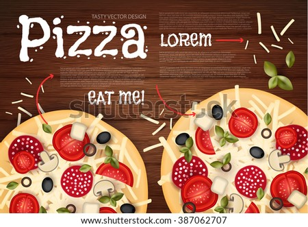 Tasty Pizza on Wood Texture. Fast Food Background. Vector illustration - stock vector